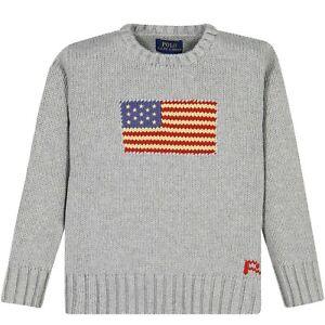 NWT POLO RALPH LAUREN SzM(10-12) AMERICAN FLAG CREW NECK PULLOVER SWEATER GREY