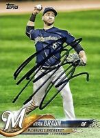 Ryan Braun Signed Auto 2018 Topps Milwaukee Brewers Card - COA - MLB