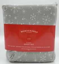Flannel Queen Sheet Set All Cotton Gray Snowflake Holiday Print Soft Wondershop