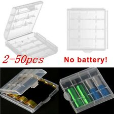2-50Pcs AA AAA Cell Battery Storage Case Holder Organizer Box Clear Hard Plastic