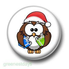 Cute Christmas Owl 1 Inch / 25mm Pin Button Badge Santa Hat Xmas Festive Kitsch