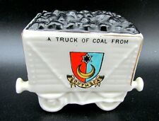 More details for antique crested china, railway coal wagon model southsea willow art china.