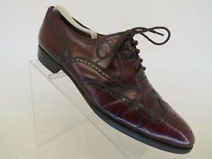 Salvatore Ferragamo Burgundy Leather Long Wing Oxford Dress Shoes Mens Sz 10.5 C