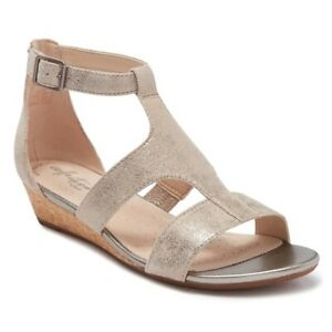 "CLARKS $90 - 7.5 - ""ABIGAIL LILY"" METALLIC SUEDE CORK WEDGE SANDALS BOHO PEWTER"