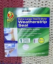 """Duck Brand 1/2"""" w Extra Large Heavy Duty self adhesive rubber Weatherstrip seal"""