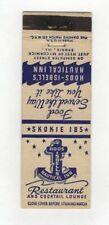 Hoosibells Nautical Inn Restaurant Skokie Illinois Vintage Matchbook Cover A10