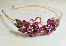 Gold Tone Purple AB Crystal Flower Hairband Side Tiara Fascinator Prom Wedding