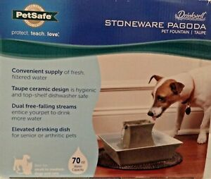 Stoneware Pagoda Pet Fountain Drinkwell - Water dish/Waterer - Pet Safe
