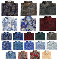 Mens Thai Silk Patterned Shirts/Casual Button Down Paisley Vintage Camp Hawaiian
