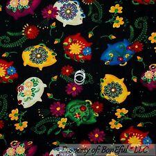 BonEful Fabric FQ Cotton Quilt Black Rain*bow Red Rose*bud Flower PIG Folk Art S