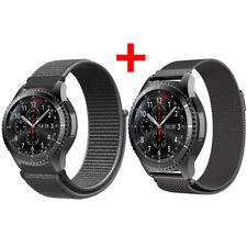 2PCS Für Samsung Gear S3 Frontier / Classic Edelstahl + Nylon Magnet Armband