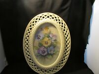 Homco Home Interiors Fran Anderson Pansy Picture Cream Oval Lattice Frame #2384