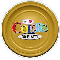 PIATTI PIANI DOPLA IN PLASTICA MONOUSO ORO CF.30 PZ.COORDINATO PARTY TINTA UNITA