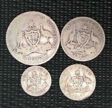 1918 3d threepence, 1917 6d sixpence, one shilling and florin **33