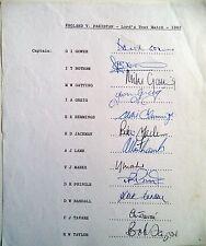 Inglaterra V prueba de Pakistán 1983 Lord – Hoja de autógrafos oficial de cricket