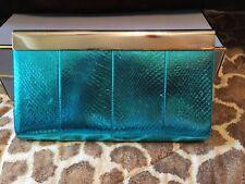 Jimmy Choo Cayla Bright Metallic Turquoise Blue Snakeskin Clutch RV $2995