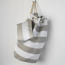 Taupe and White Stripe Drawstring Bag Beach Bag with Matching Purse