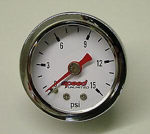"""Speed 100 Fuel Pressure Gauge 1.5"""" 0-15 psi. 1/8"""" NPT"""