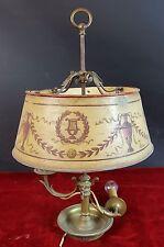 LAMPE DE TABLE BRONZE. METAL POLYCHROMES ÉCRAN. SIÈCLE XIX-XX.
