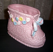 ADORABLE VINTAGE JAPAN CERAMIC BABY BOOT PLANTER, PINK WITH BLUE BOW & FLOWERS