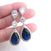 Engagement  DIAMOND Blue Sapphire Earrings Jewelry Drop Ear Stud Dangle