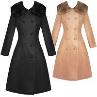 Hearts and Roses London Chrissette 1950s Vintage Retro Faux Fur Winter Coat