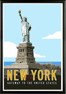 Statue of Liberty Vintage Retro Travel Railway Print Poster Wall Picture A4 +