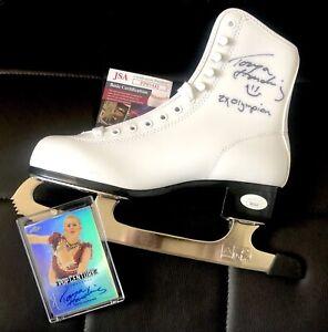 Tonya Harding Ice Skating Olympics Autographed Skate - JSA + Signed Leaf Card