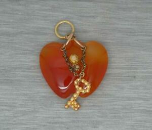 Rare Antique Victorian 15ct Gold Carved Agate Key to your Heart Charm Pendant
