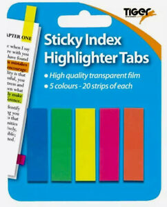 100 Neon Sticky Index Highlighter Tabs-Adhesive Page Markers-Transparent