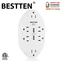 BESTTEN 3.1A Dual USB 6-Outlet Surge Protector Wall Outlet Adapter Chargers ETL