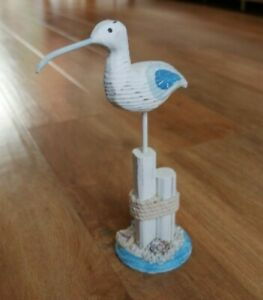 Wooden Seagull On Stand Ornament Beach Seaside Home Décor
