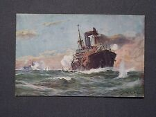 Carte postale sous-marin-Don 1917, sous-marin allemand au combat, Willy Stöwer