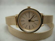 Authentic Skagen SKW2600 Wrap Around Mesh Gold Tone Bracelet Women's Watch