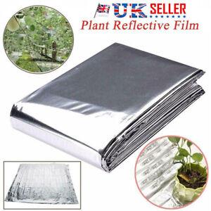 UK Reflective Film Plants Garden Greenhouse Covering Foil Sheet Silver 210x120cm