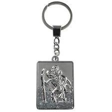 Sumex Christian Holy St Christopher Silver Key Chain Ring Keyring - Rectangular