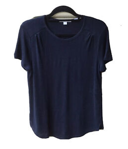 TRENERY Navy Blue Top S 10 Organic French Linen Blouse Curved Hem Short Sleeve