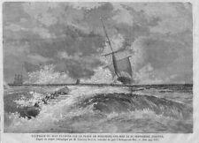 "BOULOGNE-SUR-MER ""MAY FLOWER SCARBOROUGH NAUFRAGE WRECK"" GRAVURE ENGRAVING 1866"