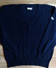 Adidas Originals 90's Vintage Mens Sweater Jumper V-Neck Navy Blue Cotton Acryl