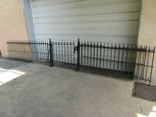 ~ ANTIQUE WROUGHT IRON FENCE 2 POSTS AND GATE 23 FEET ~ ARCHITECTURAL SALVAGE ~