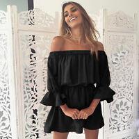 Womens Off Shoulder Boho Shirt Dress Summer Holiday Ladies Ruffle Frill Sundress