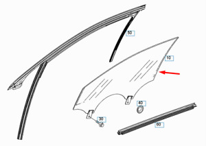 MERCEDES-BENZ S-CLASS W222 Front Right Door Glass A2227200218 New Genuine