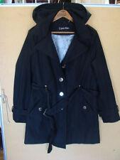 // Women's Calvin Klein Coat Jacket Black Belted Hooded Lined Size PL