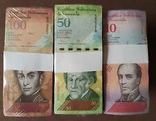 2007-2018 Venezuela 10,50,100 Bolivares 3 BRICKS 3000 Pcs. F, VF, XF USED a