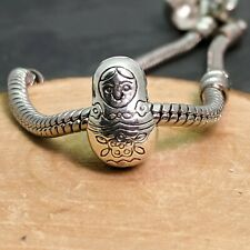 Silver Tone Russian Doll Spacer Charm Bead For European Charm Bracelets