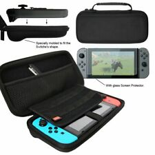 Nintendo Switch Durable Black Protective Travel Case with Glass Screen protecor