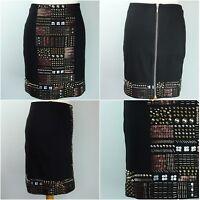Phase Eight Skirt. UK10. Black. Gold Copper Tone Bead Embellised. Full Back Zip.
