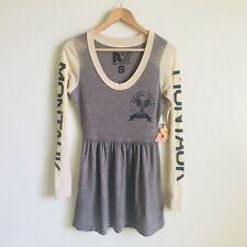 Rebel Yell Women's Montauk Track and Field Long Sleeve Top Tunic Mini Dress Sz S