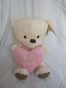 """Best Mum"""" Ivory Soft Plush Traditional Style Cute Teddy Bear with Pink Love Hear"""