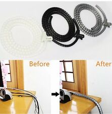 2m Metre Grey Cable Tidy Kit PC TV Wire Organising Wrap Tool Spiral Office Home